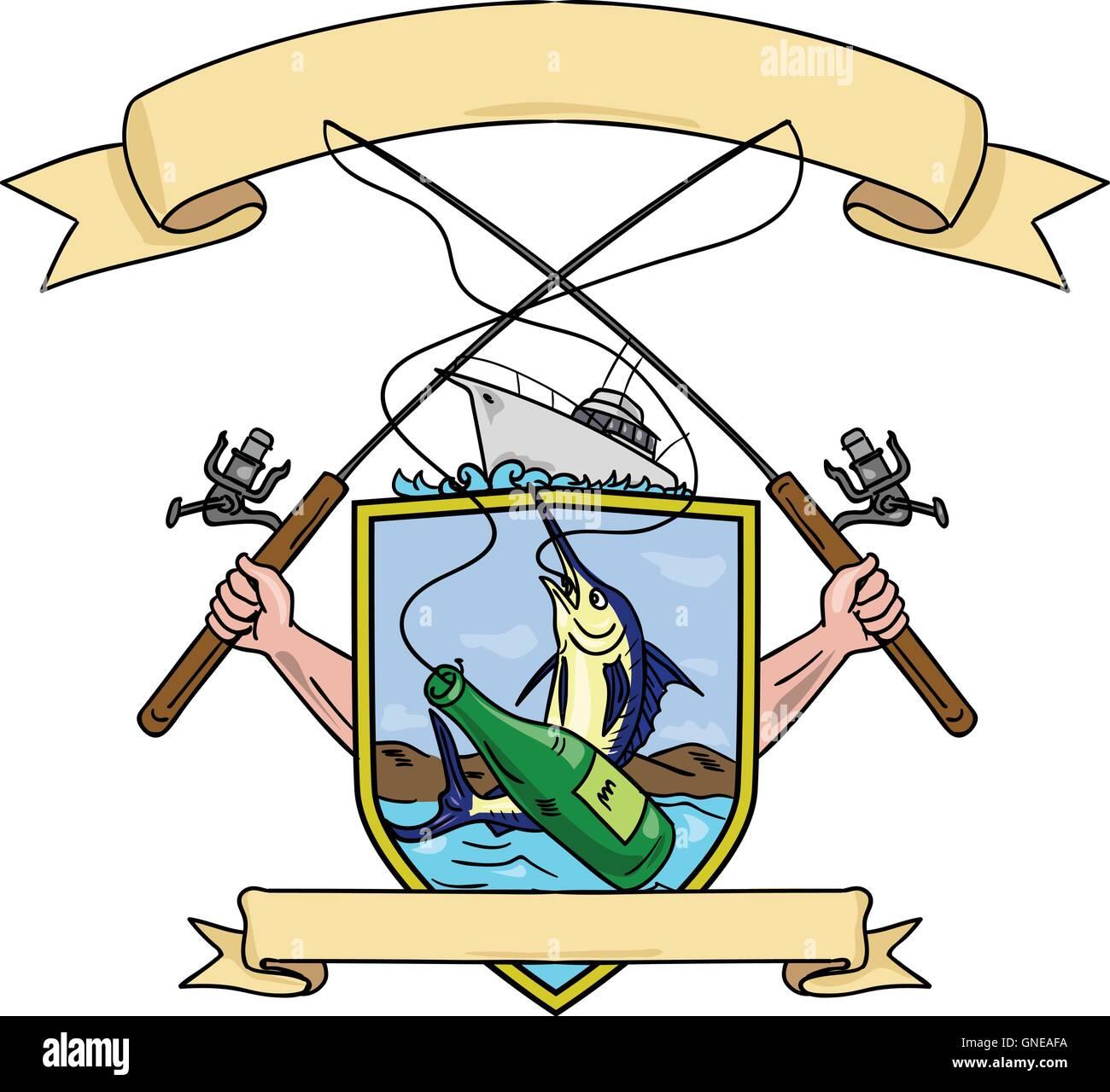 Fishing Rod Reel Blue Marlin Fish Beer Bottle Coat Of Arms Drawing