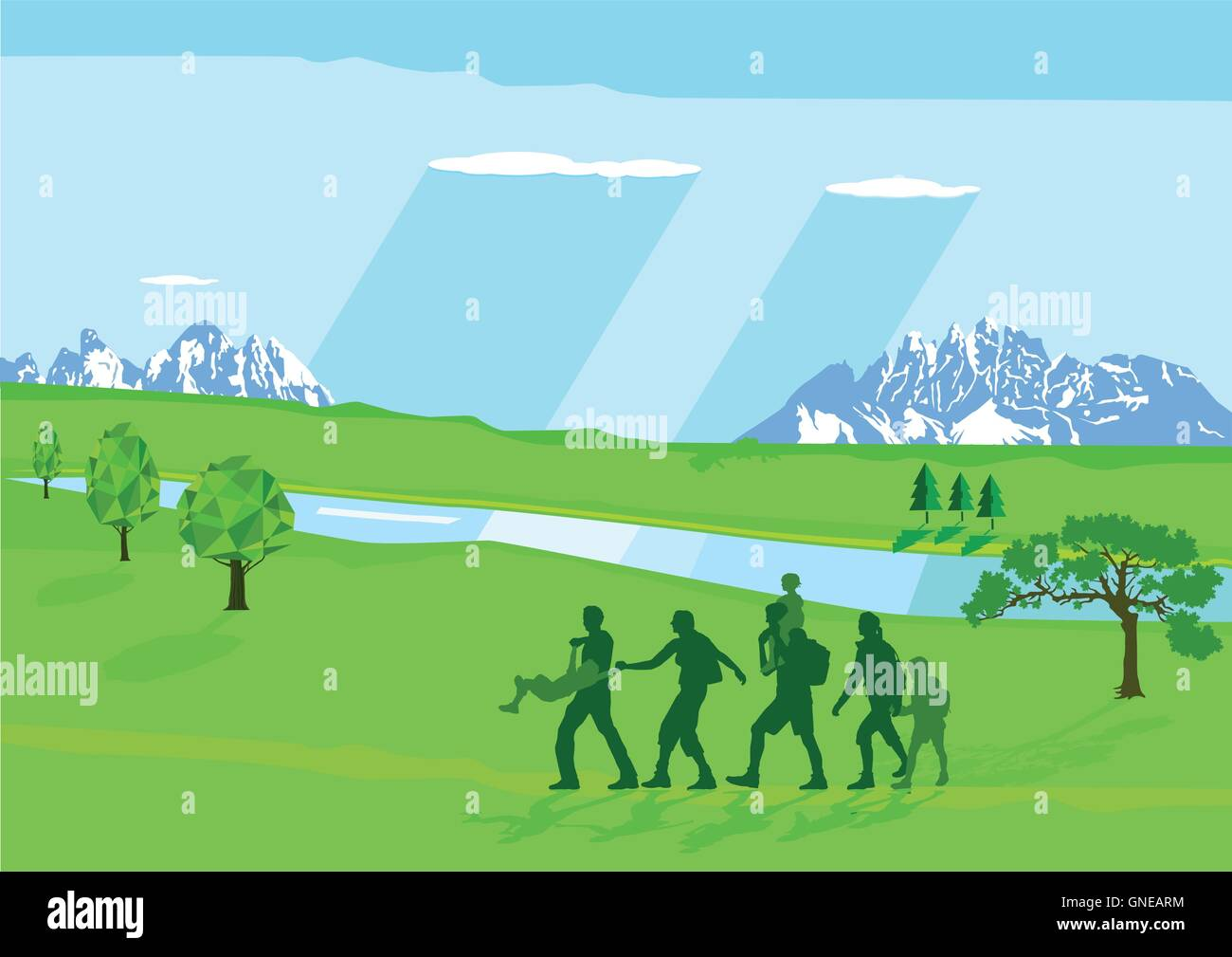 Hiking with Children - Stock Vector