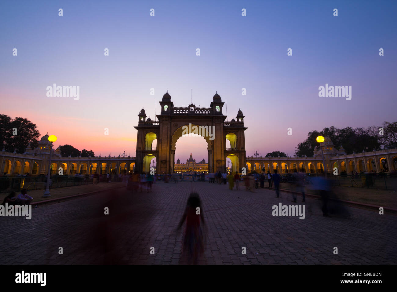 Mysore Palace, one of the most famous tourist attractions in India. Mysore is commonly described as the City of - Stock Image