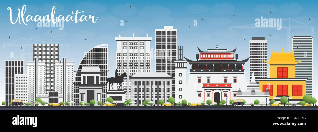 Ulaanbaatar Skyline with Gray Buildings and Blue Sky. Vector Illustration. Business Travel and Tourism Concept - Stock Vector
