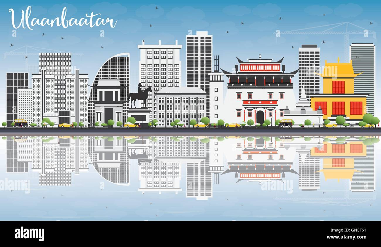 Ulaanbaatar Skyline with Gray Landmarks, Blue Sky and Reflections. Vector Illustration. Business Travel and Tourism - Stock Vector