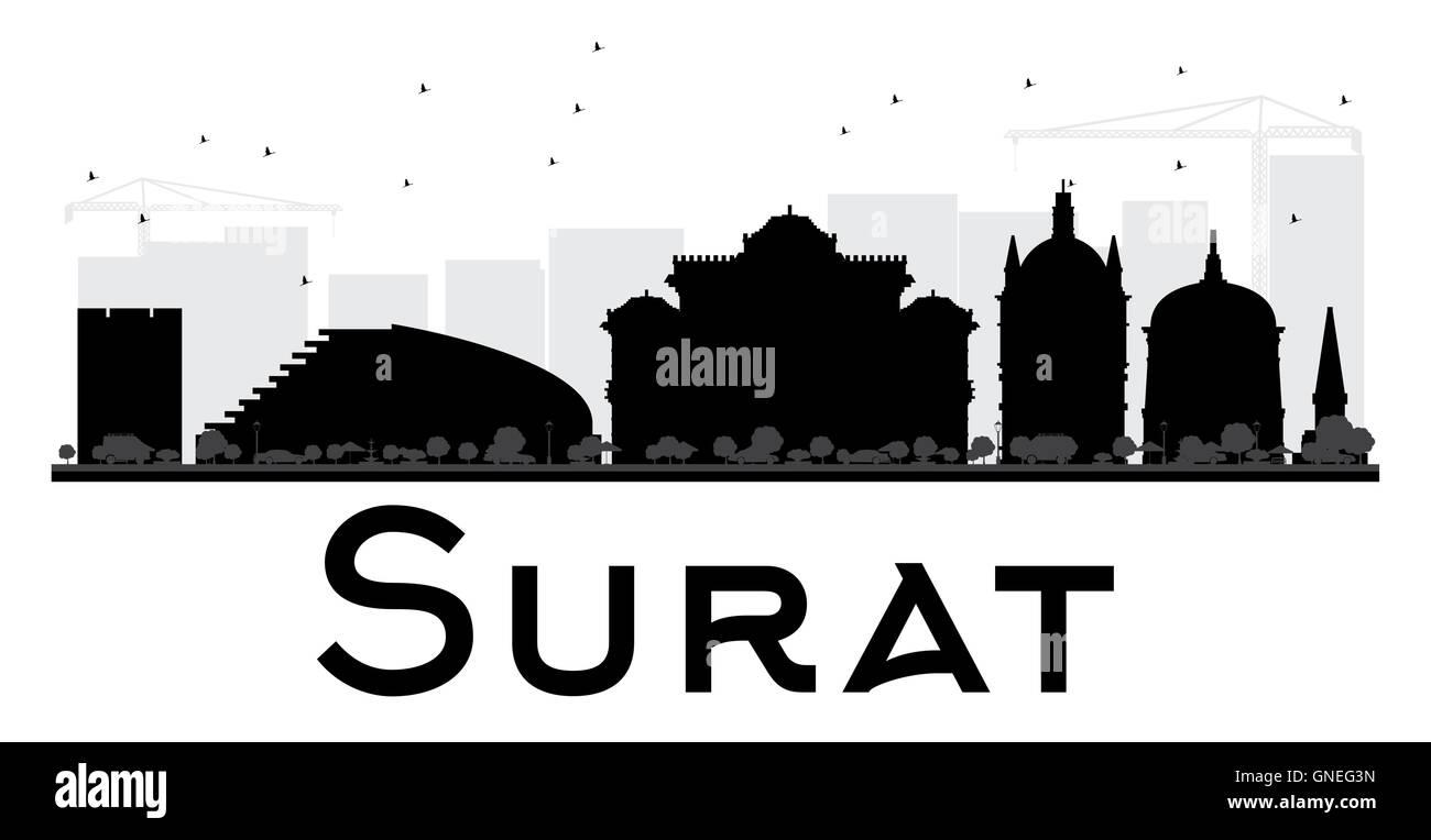 Surat City Skyline Black And White Silhouette Vector