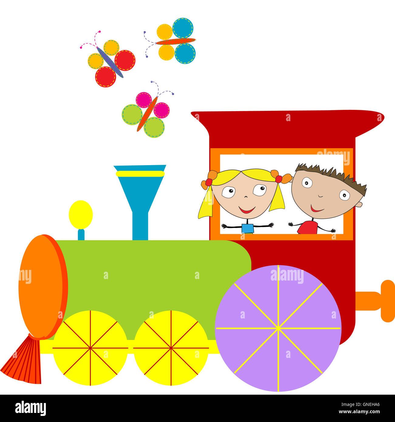 Children background with steam engine Stock Photo