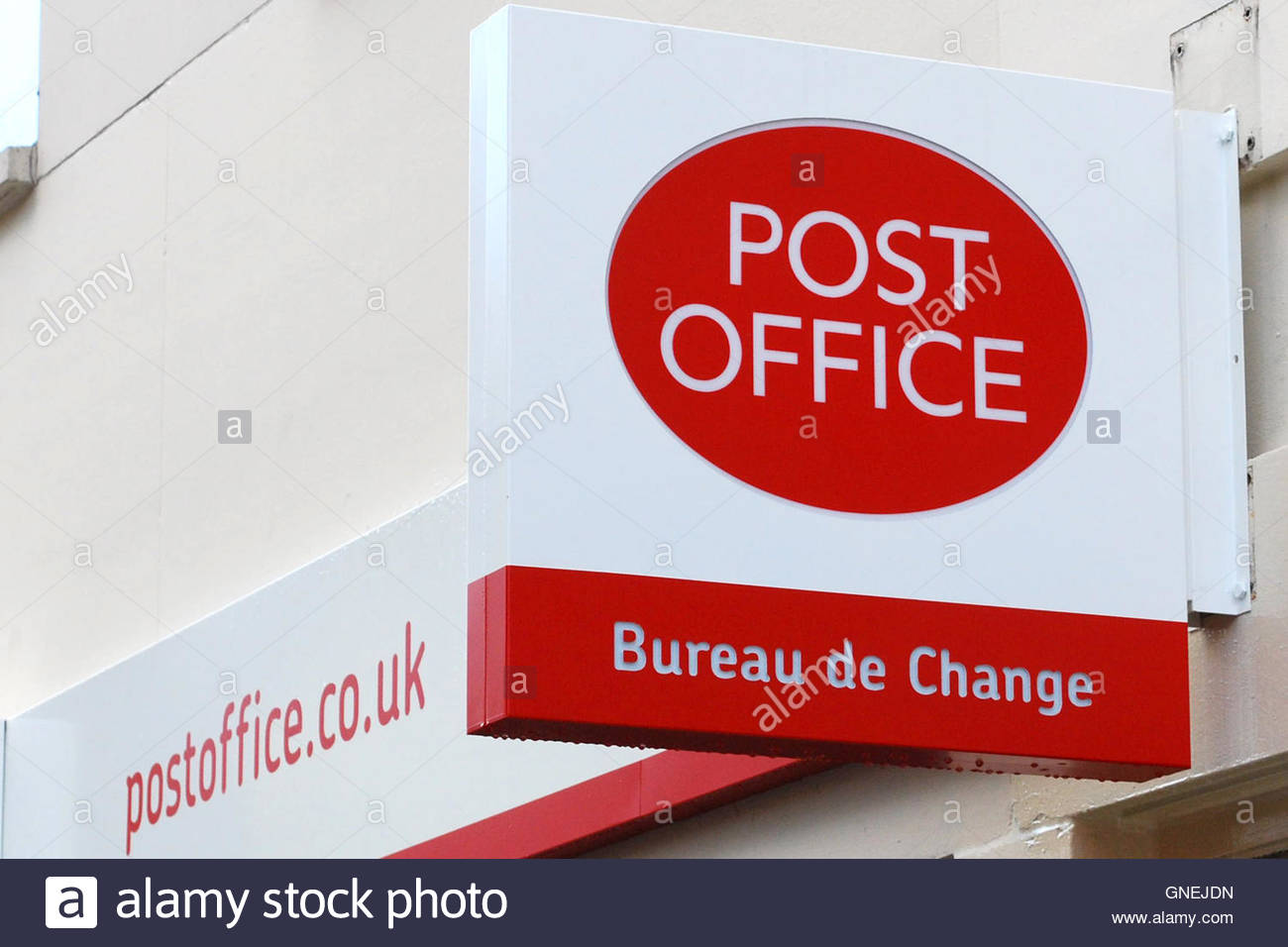 File photo dated 03/11/09 of a Post Office sign, The Post Office is committed to sustaining its 11,600-strong branch - Stock Image