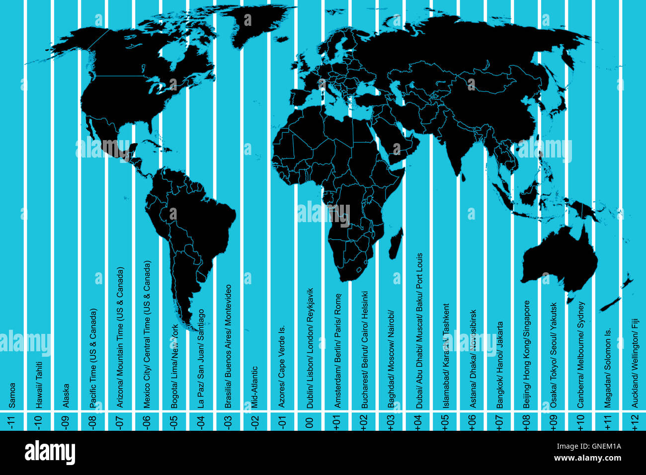 World map and time zones Stock Photo: 116493030 - Alamy on afghanistan time zone, west coast time zone, panama time zone, cuba time zone, east caribbean time zone, ecuador time zone, fiji time zone, oceania time zone, new zealand time zone, norfolk island time zone, indonesia time zone, aleutian time zone, saskatchewan time zone, pacific ocean time zone, georgia time zone, faroe islands time zone, monaco time zone, alaska time zone, portugal time zone, belize time zone,