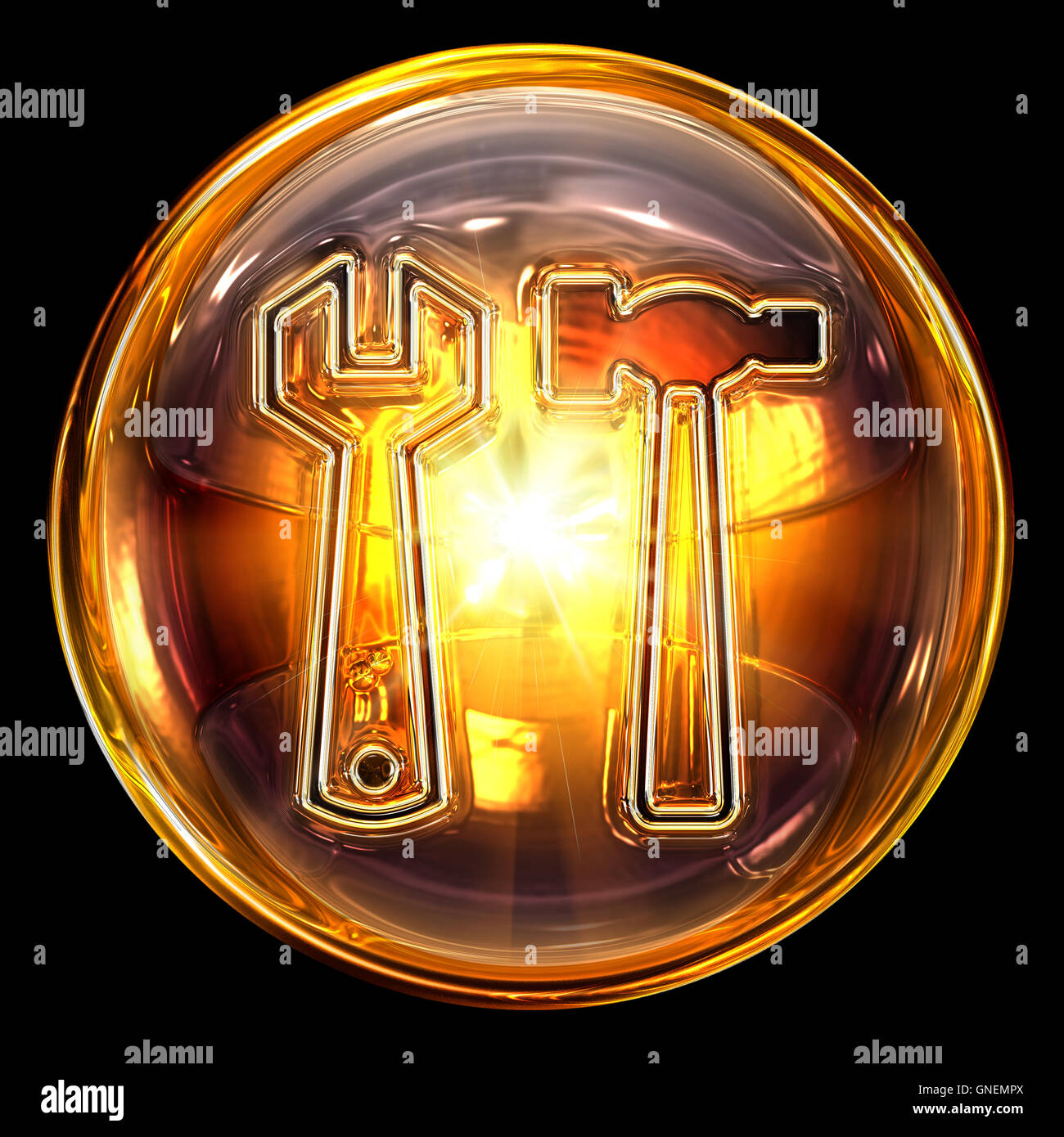 Tools icon fire, isolated on black background - Stock Image