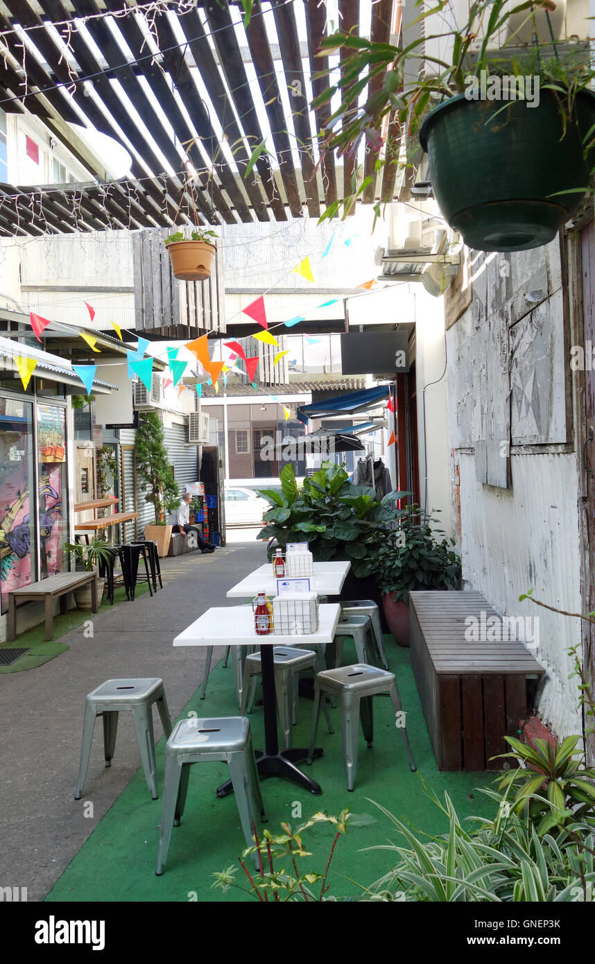 Cafe chairs and tables in Winn Lane, Fortitude Valley, Brisbane, Queensland, Australia. No PR Stock Photo