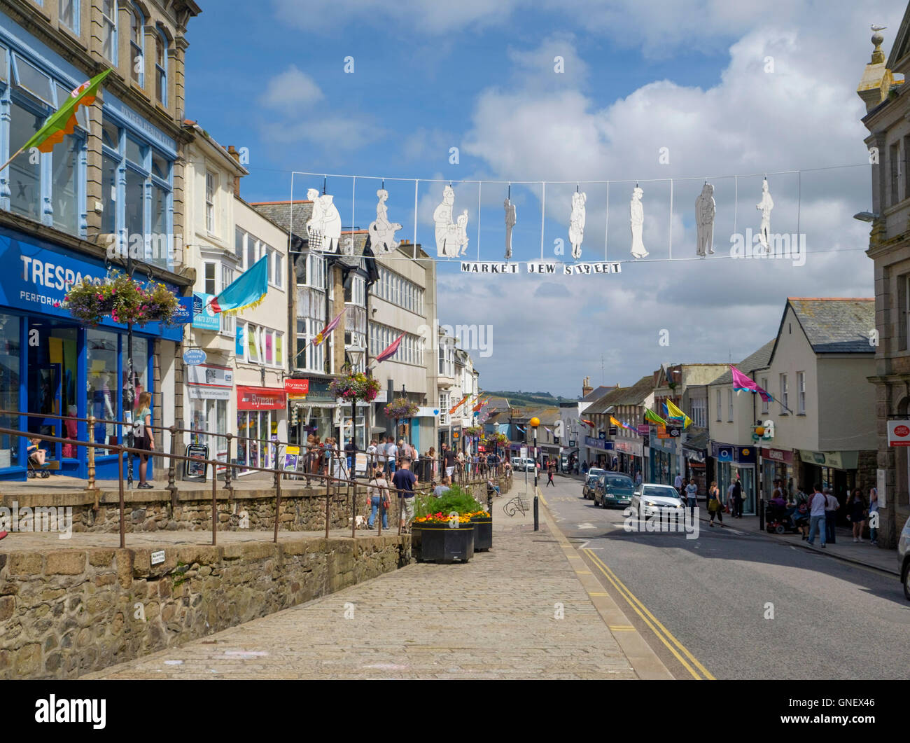 Penzance a town in West Cornwall England UK  Market Jew Street - Stock Image