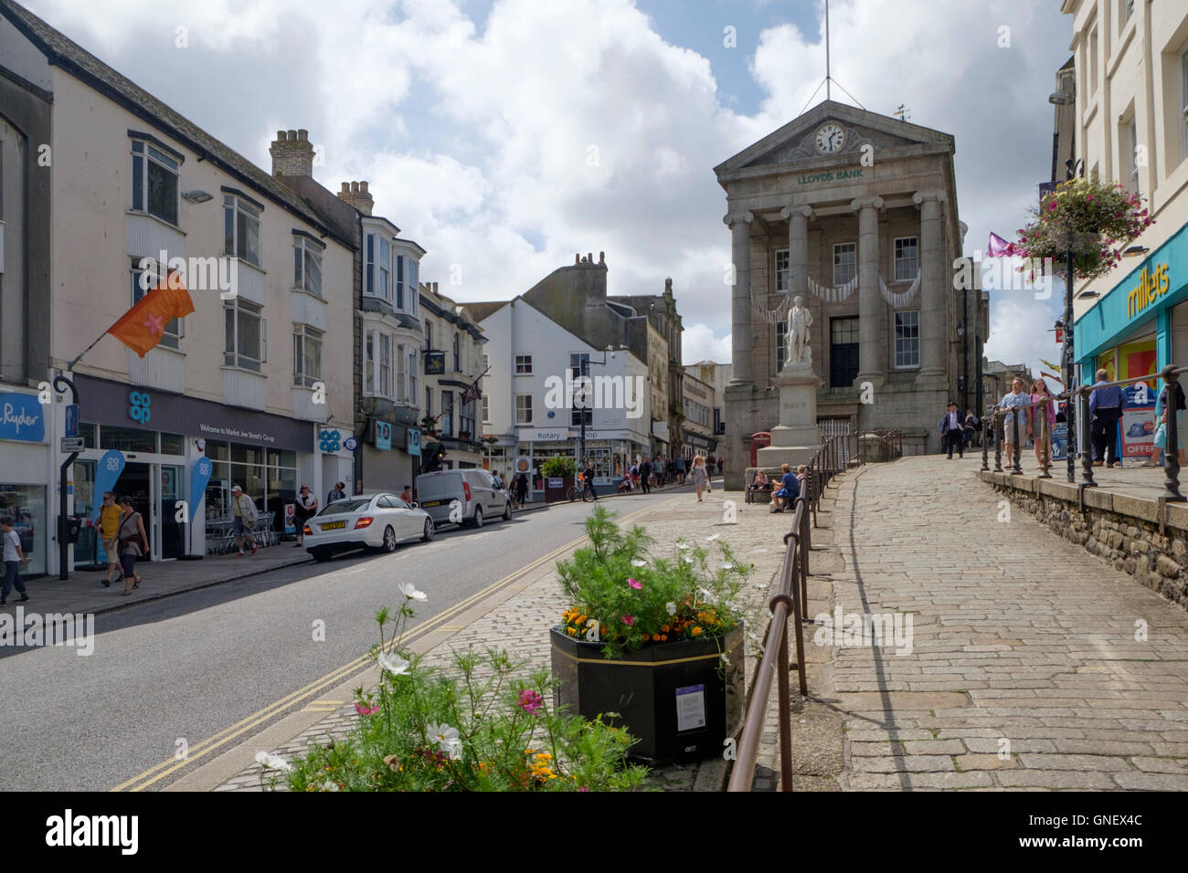 Penzance a town in West Cornwall England UK  Humphrey Davey  Market Jew Street Stock Photo