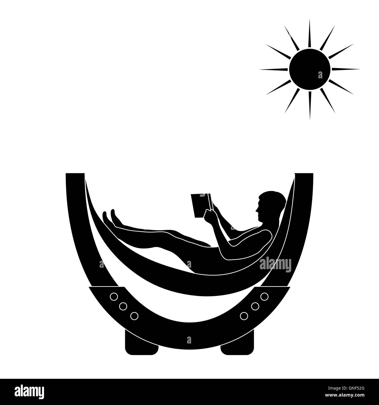 Vector illustration of man resting in a hammock with a book on a white background - Stock Image