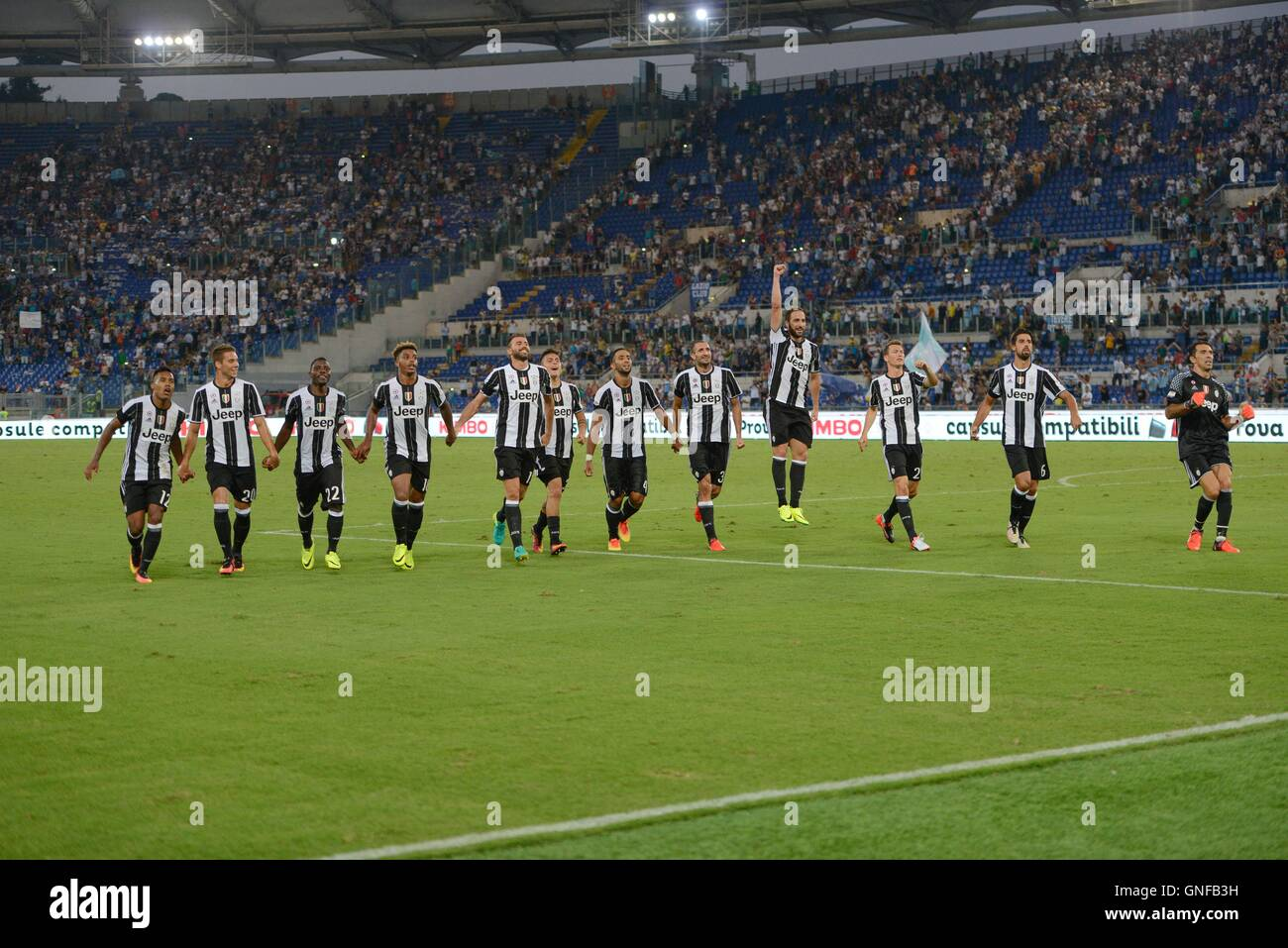 F.C. Juventus players celebrates during the Italian Serie A football match between S.S. Lazio and F.C. Juventus - Stock Image