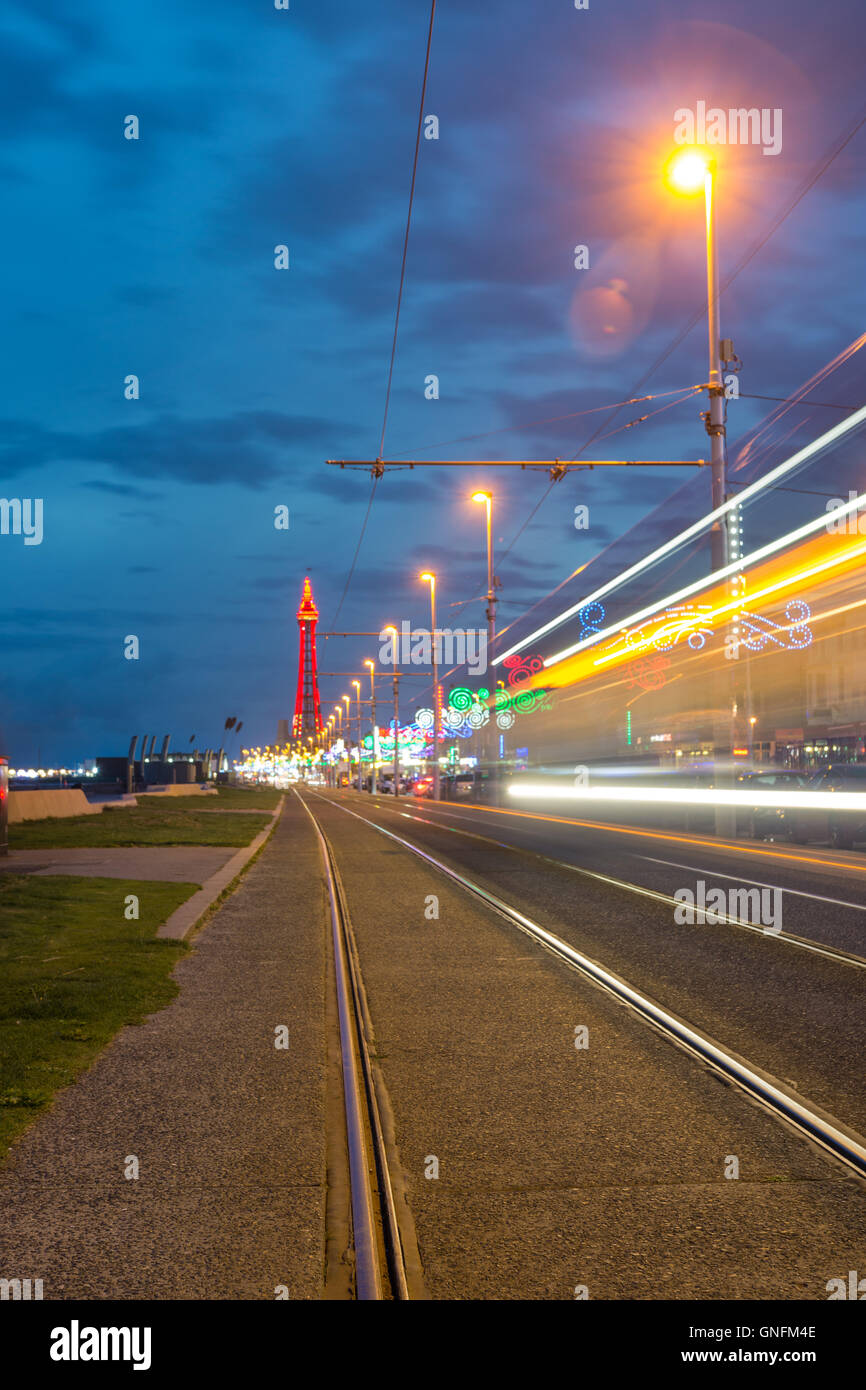 Blackpool, UK. 31st Aug, 2016. UK Weather: A cool and breezy evening in Blackpool. Visitors get a little treat as - Stock Image