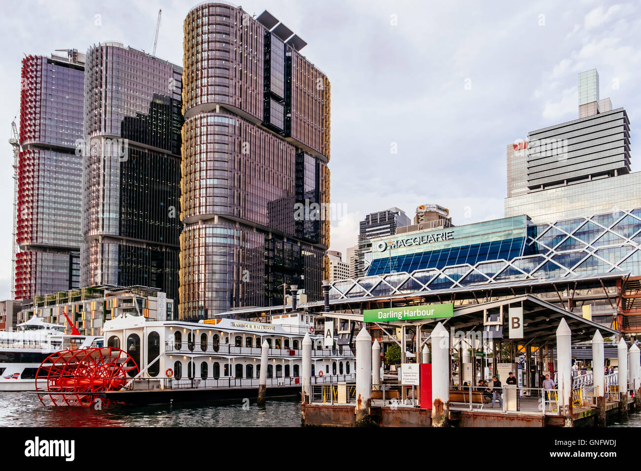 Darling Harbour at dusk, Sydney, New South Wales, Australia - Stock Image