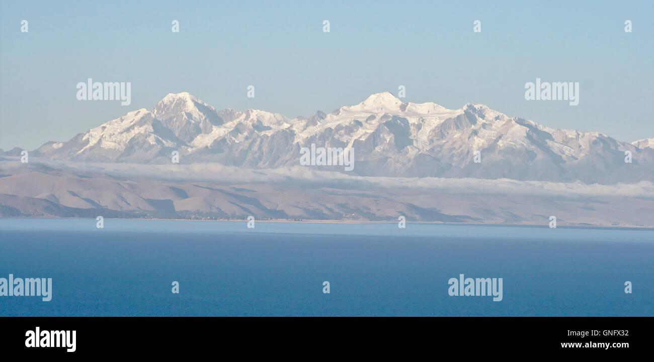 Titicaca Lake with Illampu and Ancohuma, Cordillera Real, Bolivia - Stock Image