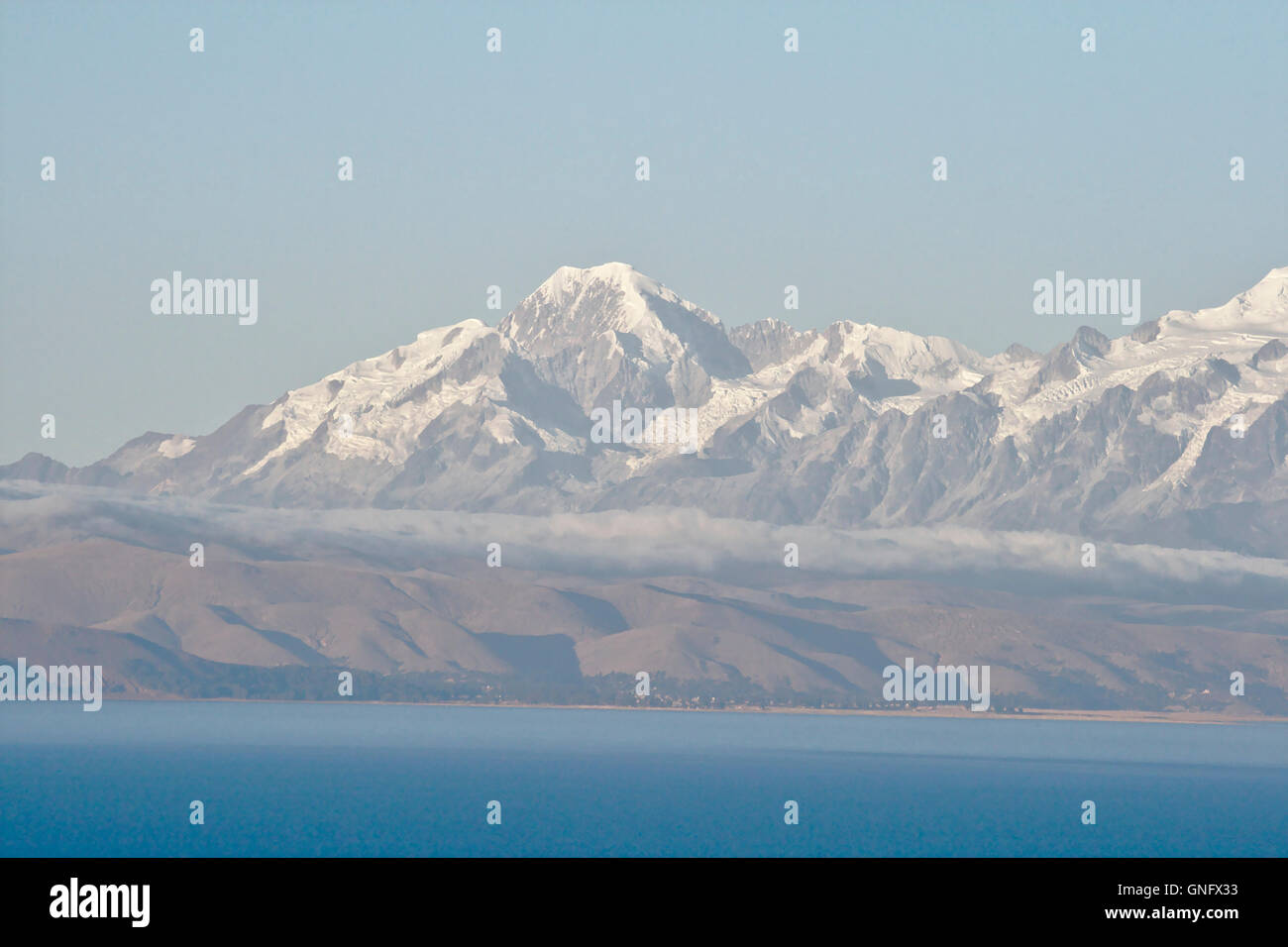 Titicaca Lake with Illampu, Cordillera Real, Bolivia - Stock Image