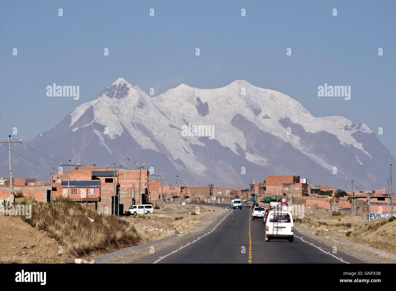 Ilimani seen from the Altiplano. Bolivia - Stock Image