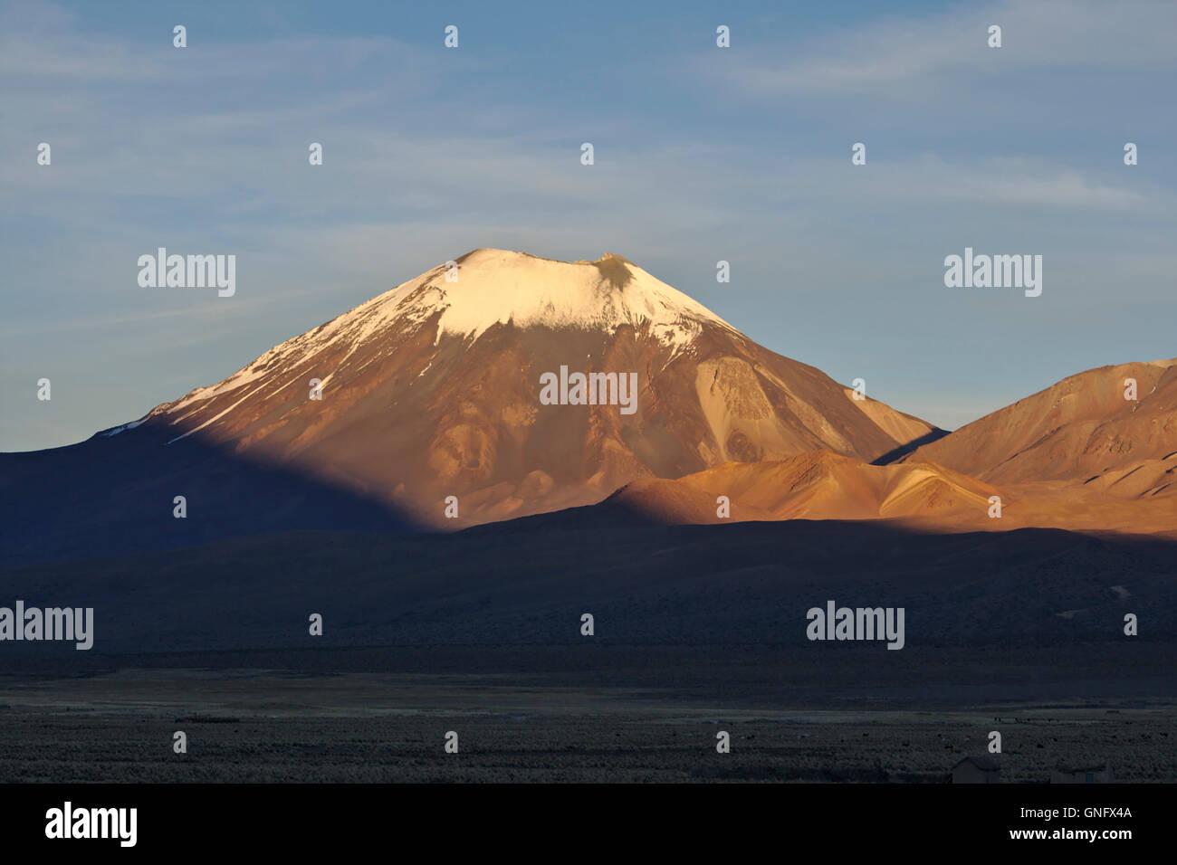 parinacota stratovolcano in morning light, Sajama National Park, Bolivia - Stock Image