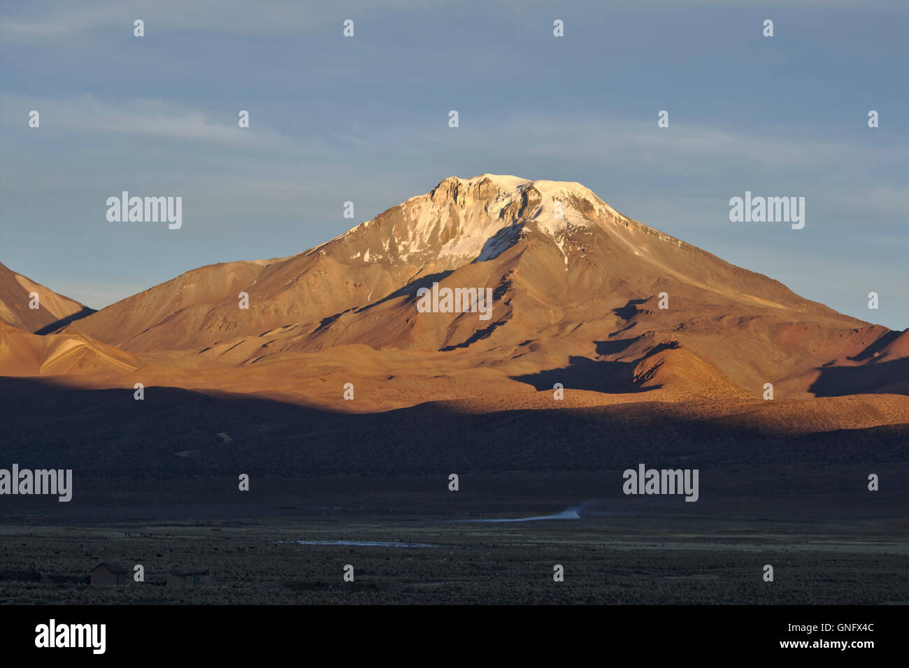 Pomerape stratovolcano from Sajama National Park, morning light, Bolivia - Stock Image