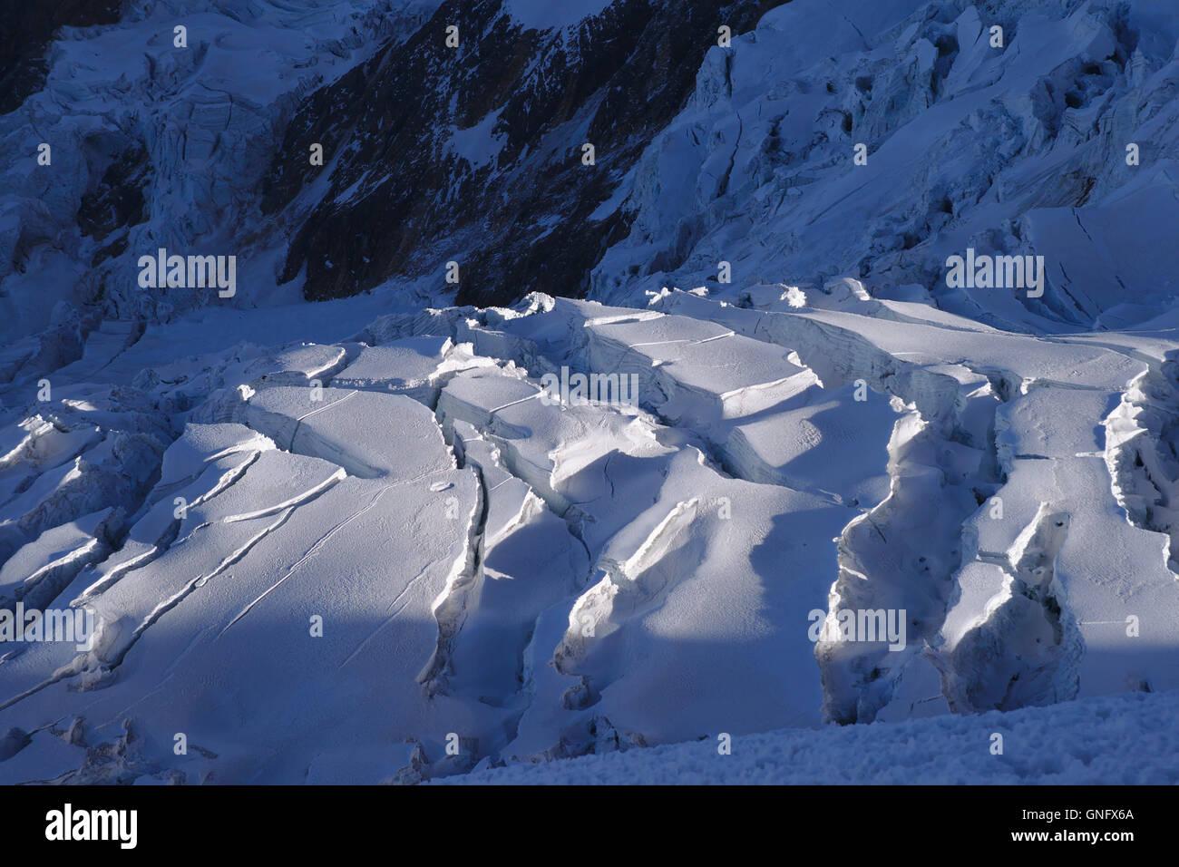 Glacier on Illimani, Bolivia - Stock Image