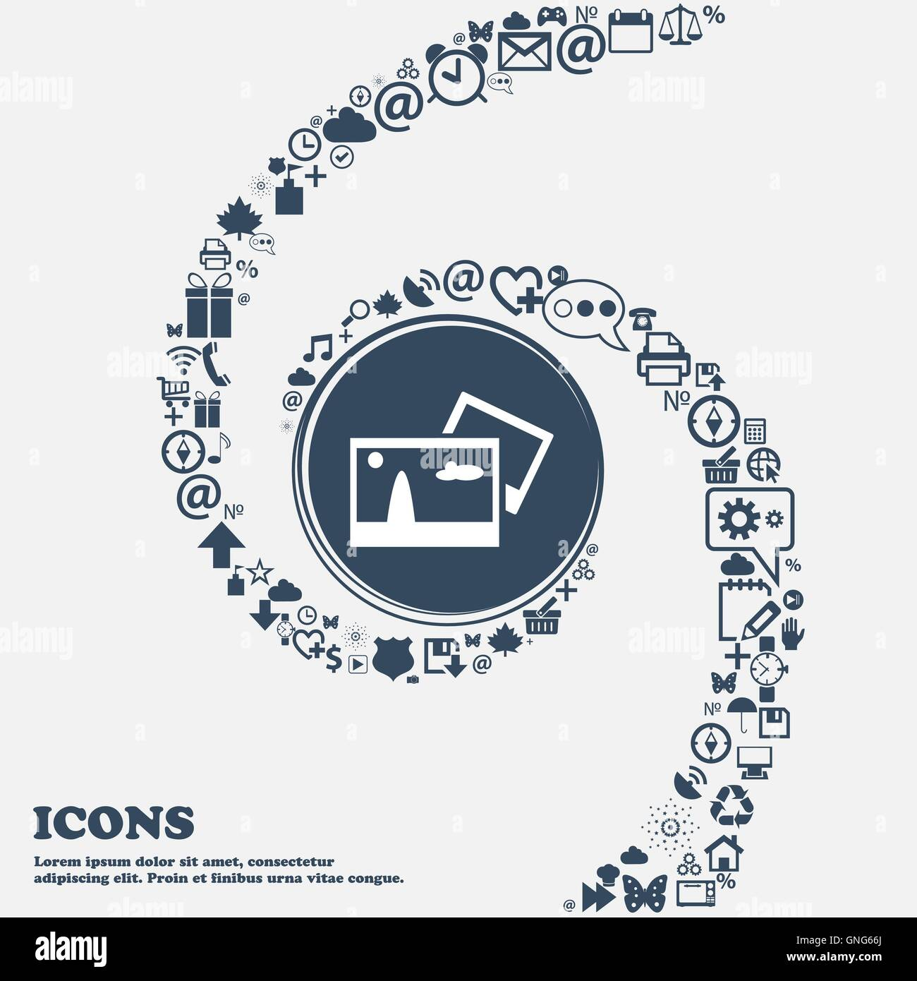 Copy File JPG sign icon. Download image file symbol in the center. Around the many beautiful symbols twisted in - Stock Vector