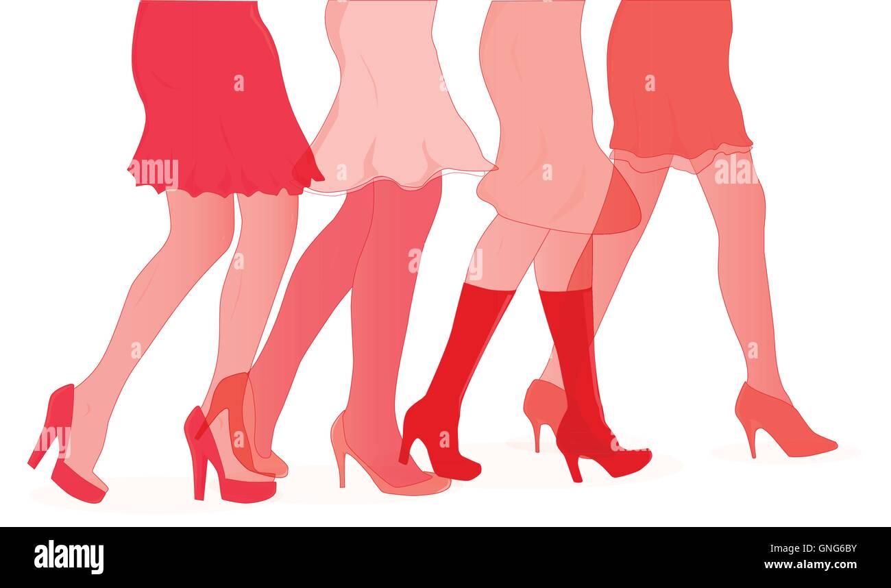 Womens Duotone Legs - Stock Vector