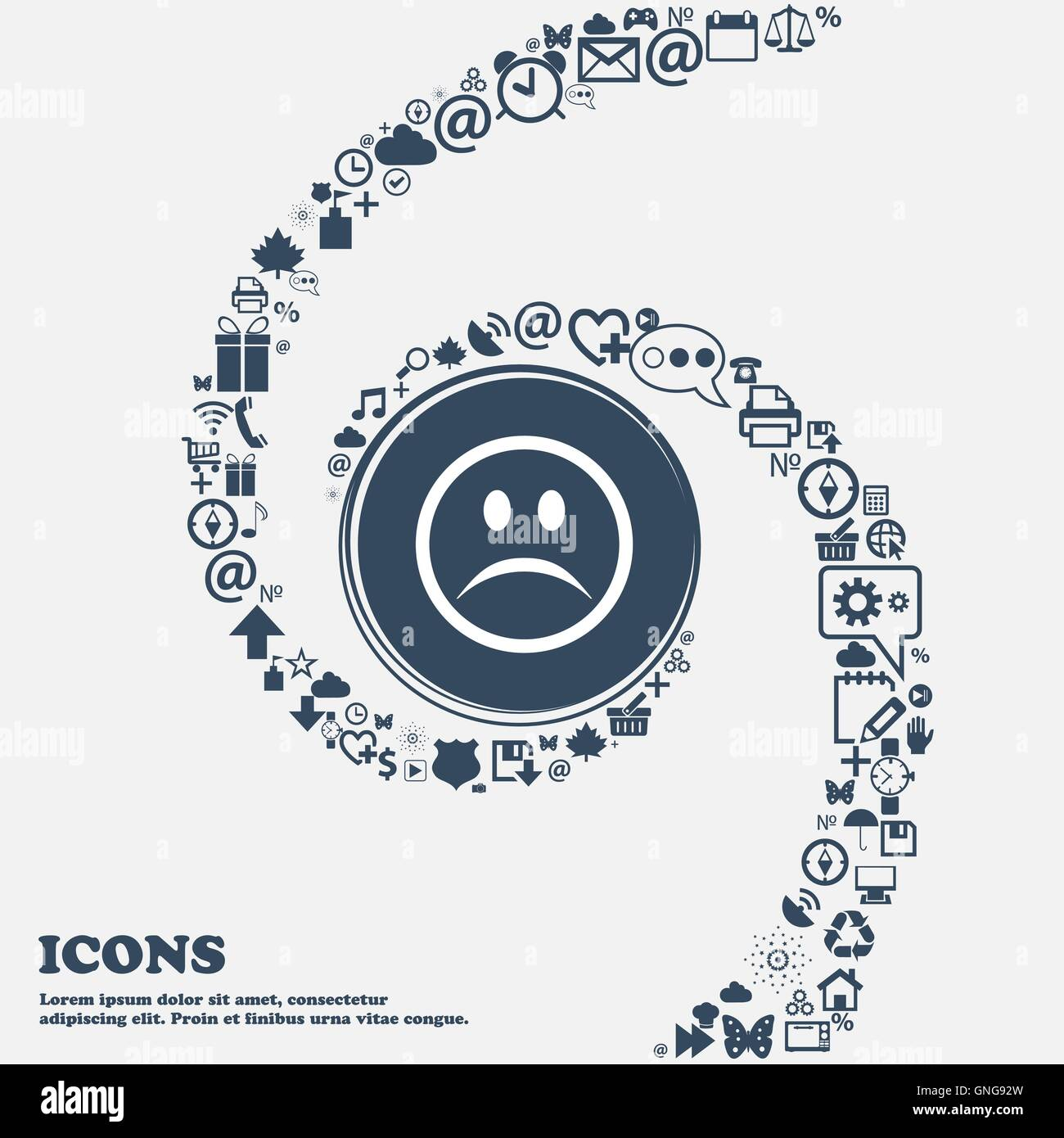 Sad Face Sadness Depression Icon Sign In The Center Around The