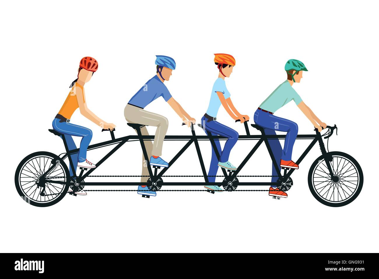 Cycling Tandem Bicycle - Stock Image