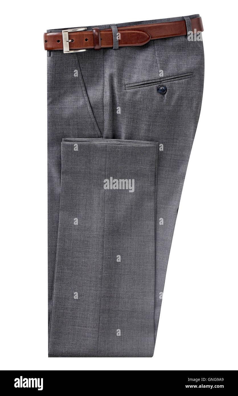 folded men pants isolated on white. - Stock Image