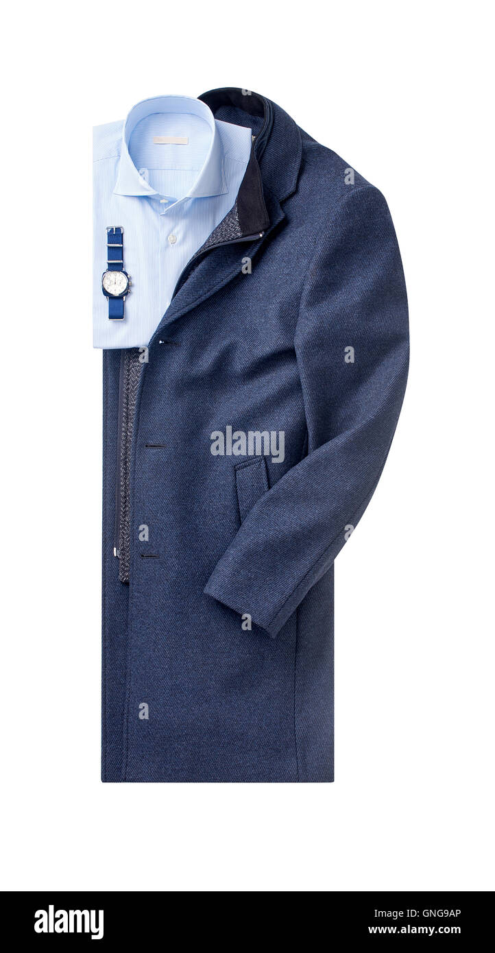 mens overcoat with shirt isolated on white. - Stock Image
