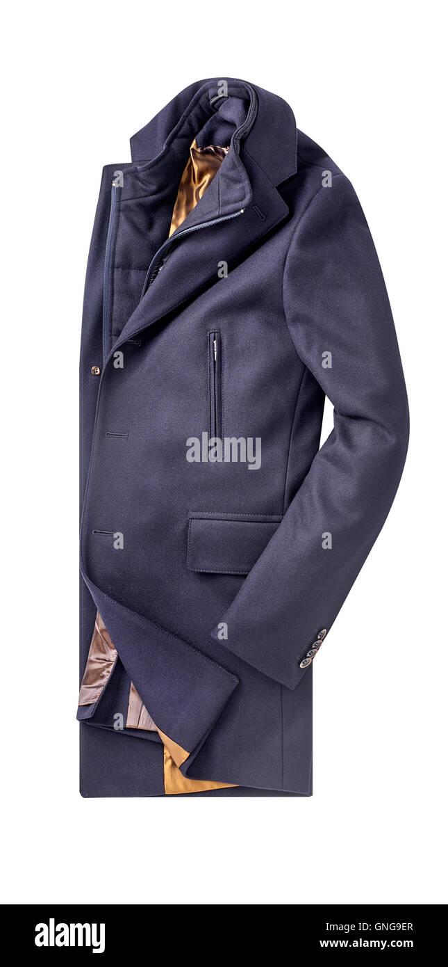 mens overcoat isolated on white. - Stock Image