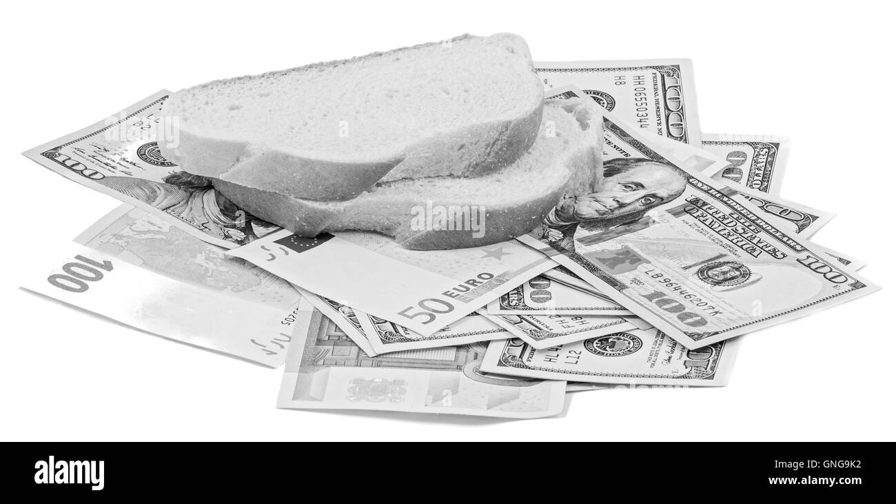White bread, dollars and euro banknotes isolated on white in black and white - Stock Image