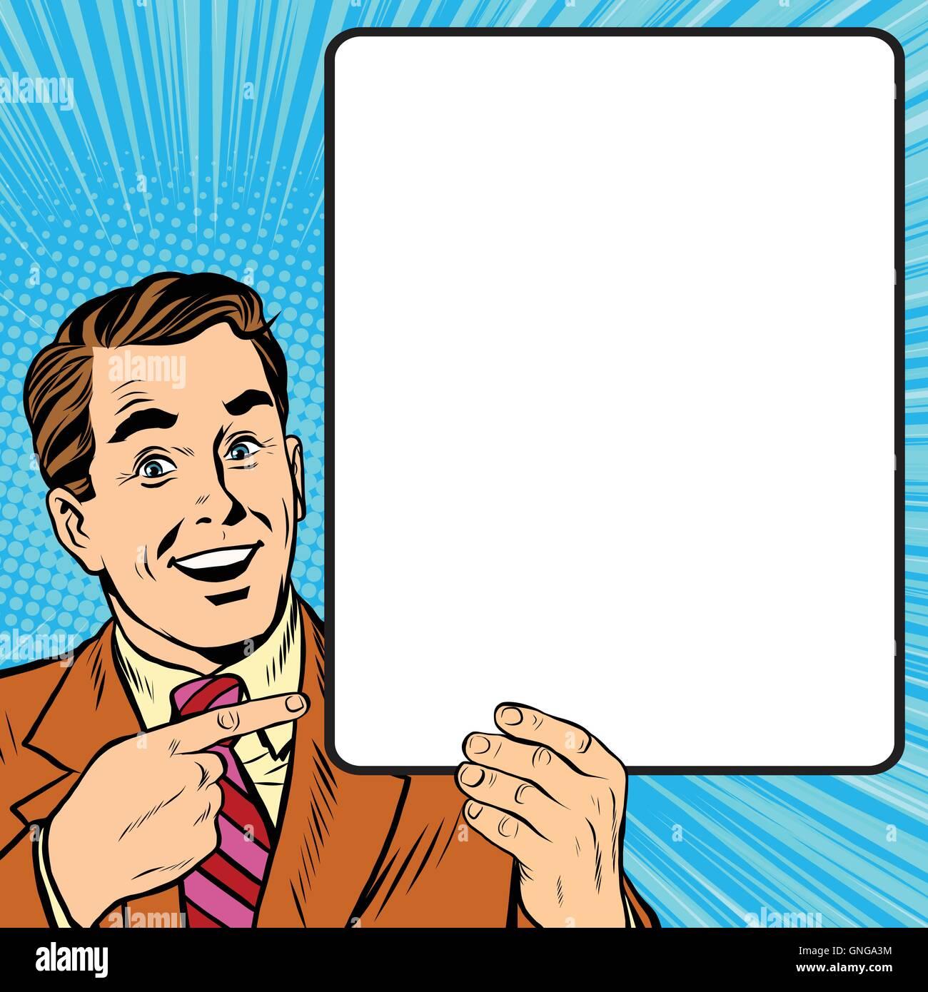 Retro man with a poster pop art - Stock Vector