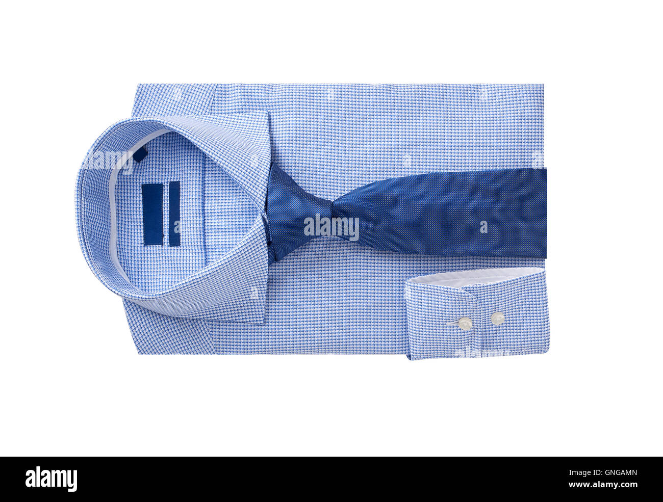 men shirt clothing with tie isolated on white. - Stock Image