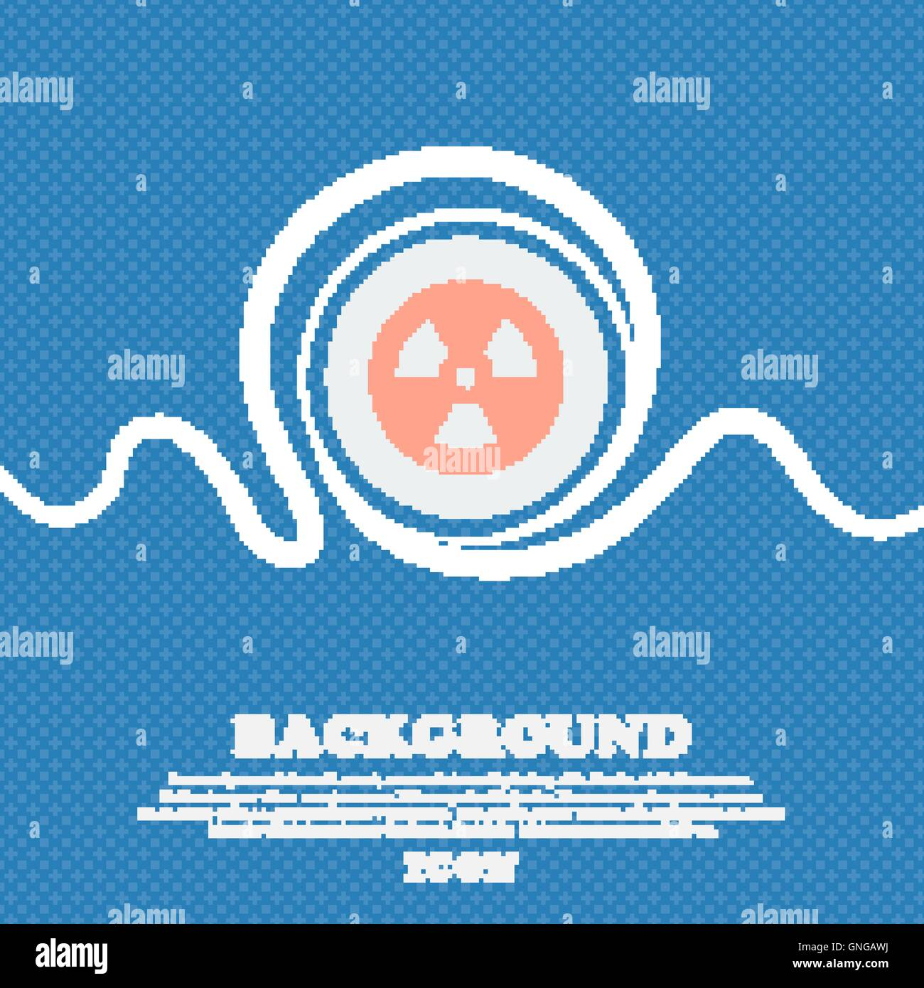 radiation sign icon. Blue and white abstract background flecked with space for text and your design. Vector - Stock Image