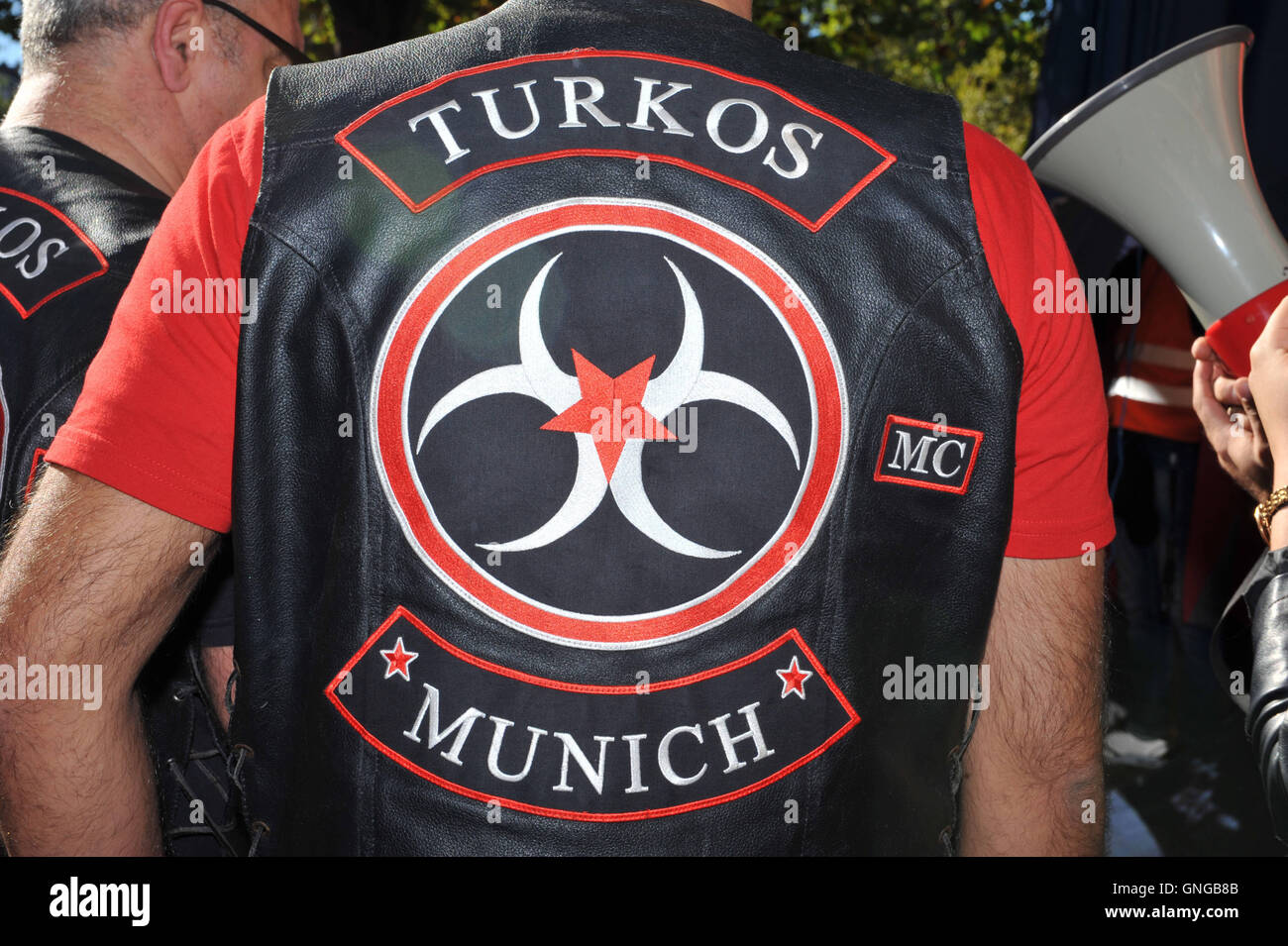 'The motorcycle club ''MC Turkos'' demonstrates in Munich against arms shipments to Kurds, 2014' - Stock Image