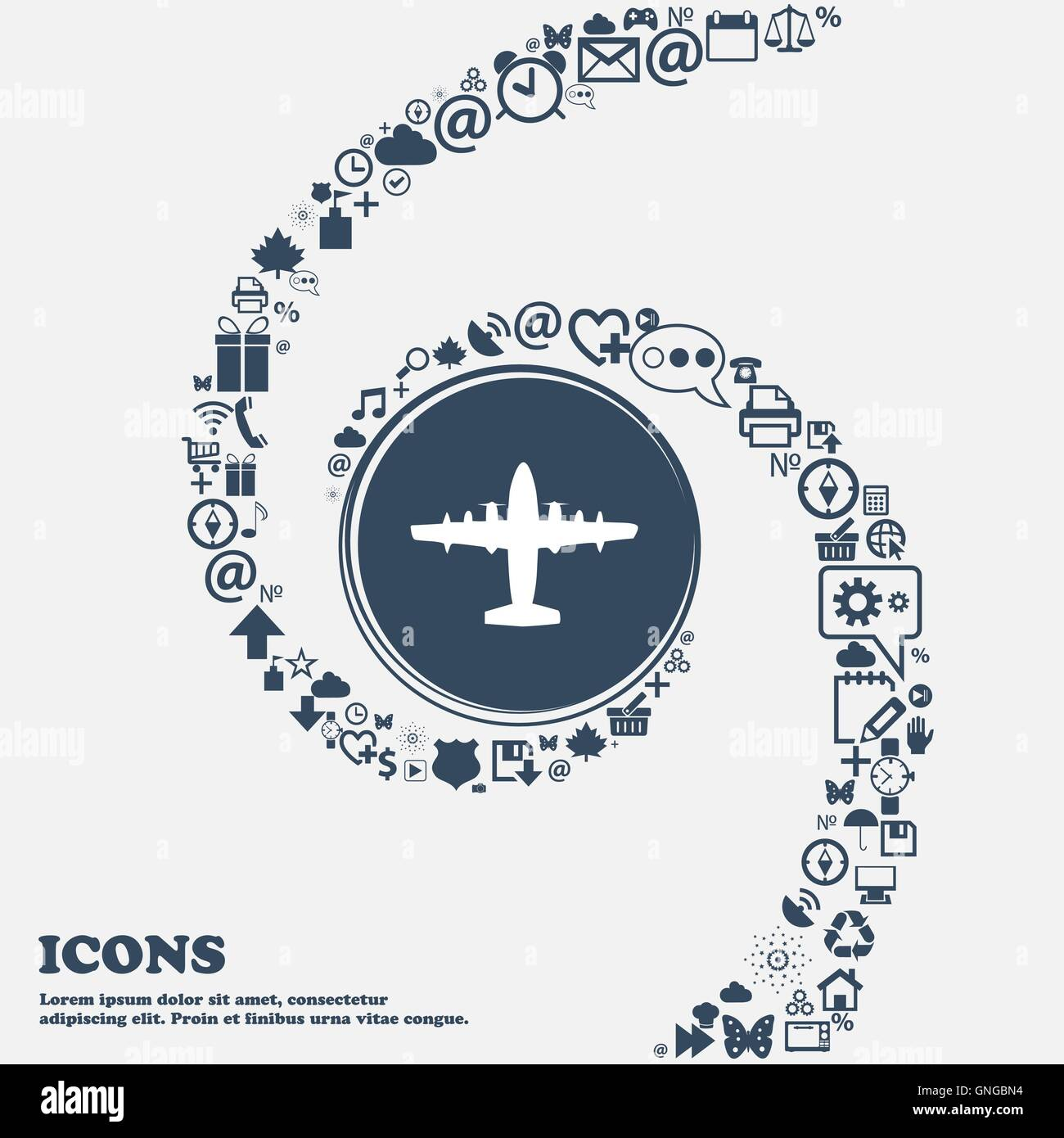 aircraft icon sign in the center. Around the many beautiful symbols twisted in a spiral. You can use each separately - Stock Vector