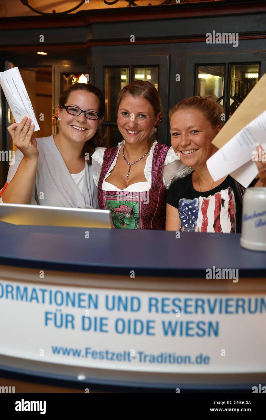 Reservation desk for the Oide Wiesn in the Munich Ratskeller, 2014 - Stock Image