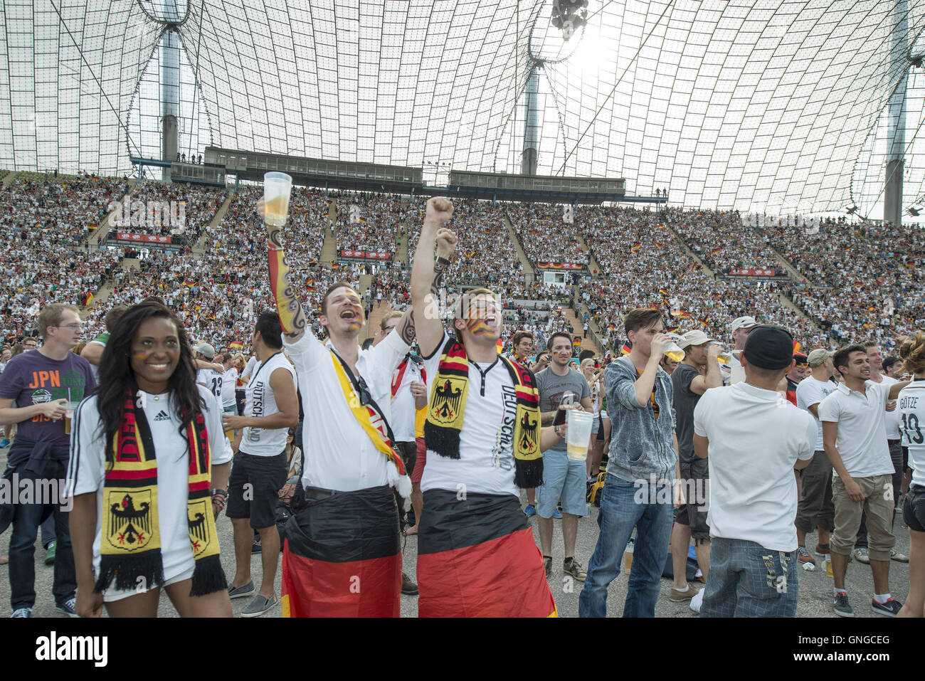 World Cup 2014: Fans at the public viewing in Munich, 2014 - Stock Image