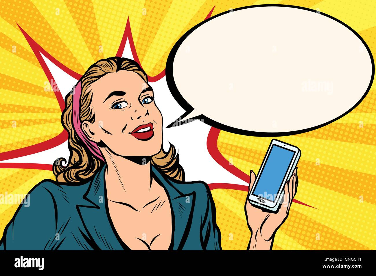 Businesswoman with smartphone in hand - Stock Vector