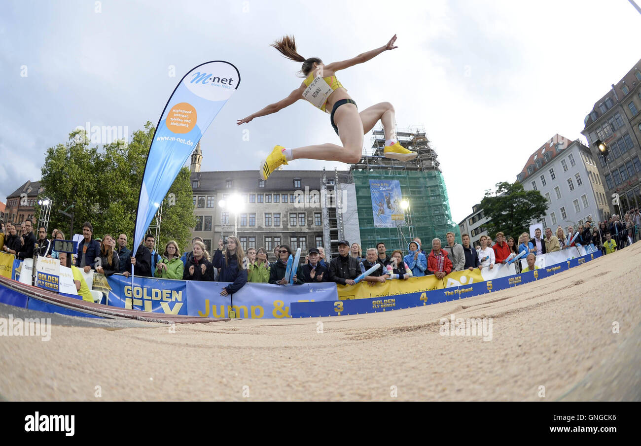 'Pole Vault and Long Jump Meeting ''Jump and Fly'' in Munich, 2014' - Stock Image
