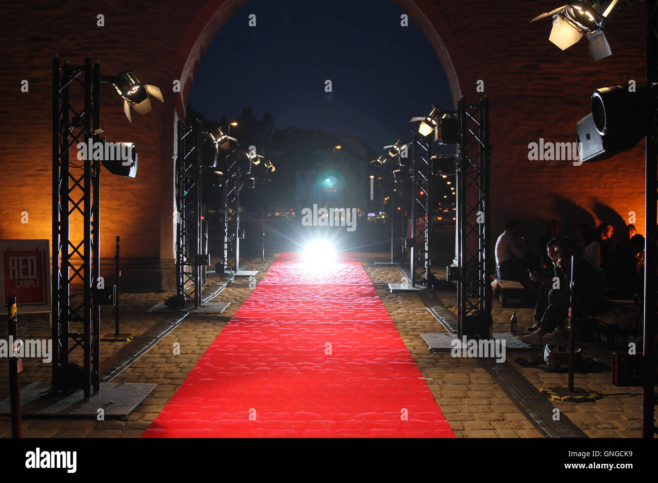 'The art action ''Red Carpet'' in Munich, 2014' - Stock Image