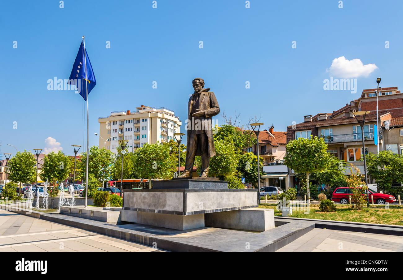 Statue of Ibrahim Rugova in Pristina - Kosovo Stock Photo