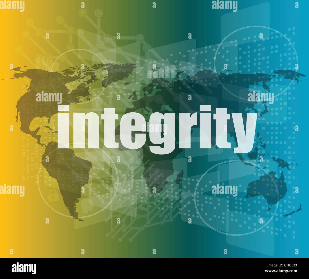 business concept: word integrity on digital background vector quotation marks with thin line speech bubble. concept - Stock Vector