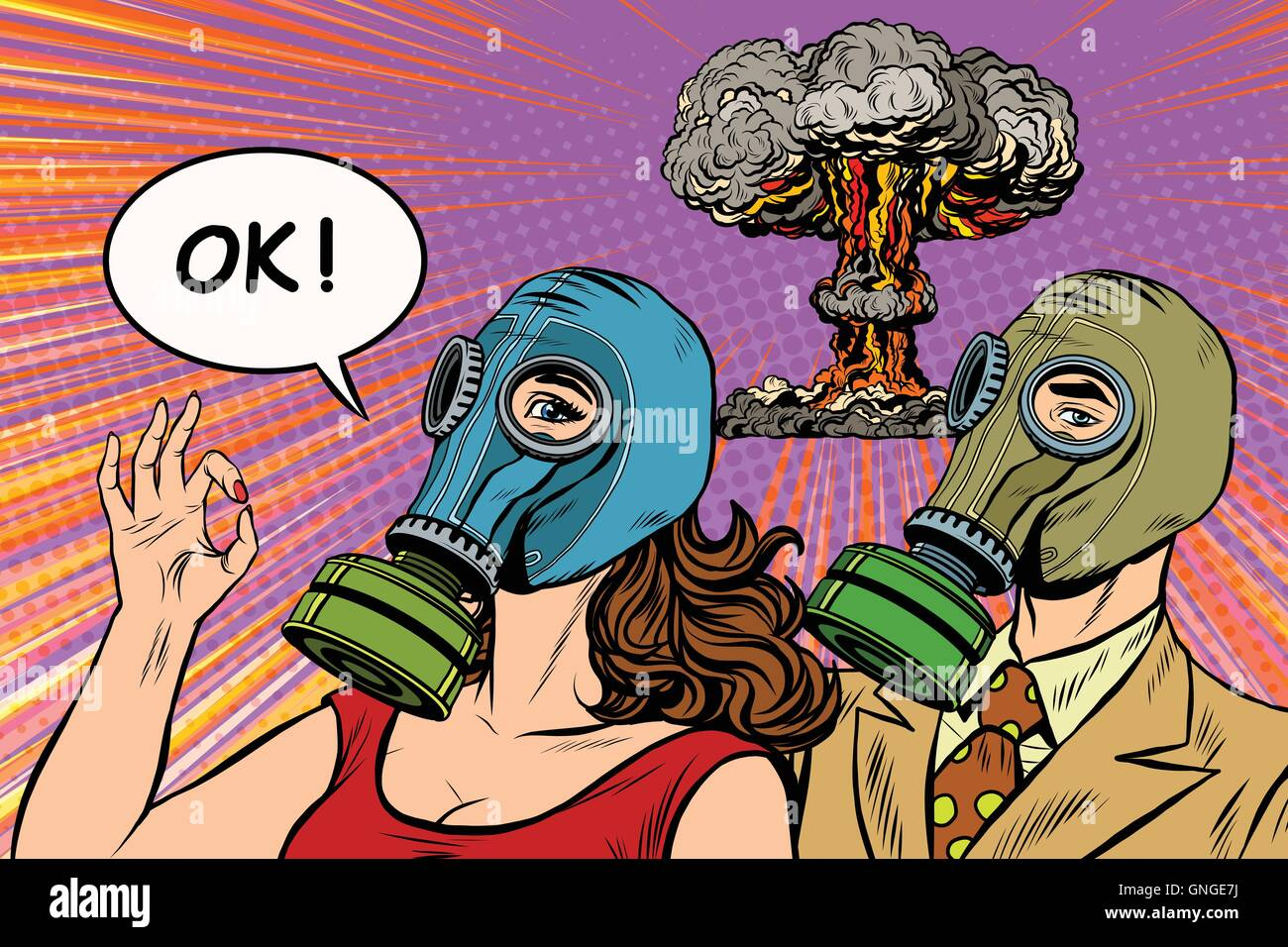 Nuclear war retro pop art poster military - Stock Image