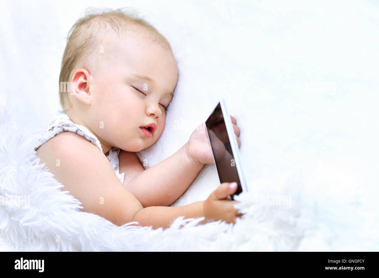 Cute Sleeping Baby Girl Stock Photo Alamy