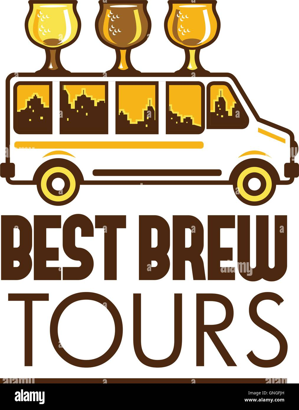 Beer Flight Glass Van Best Brew Tours Retro - Stock Vector