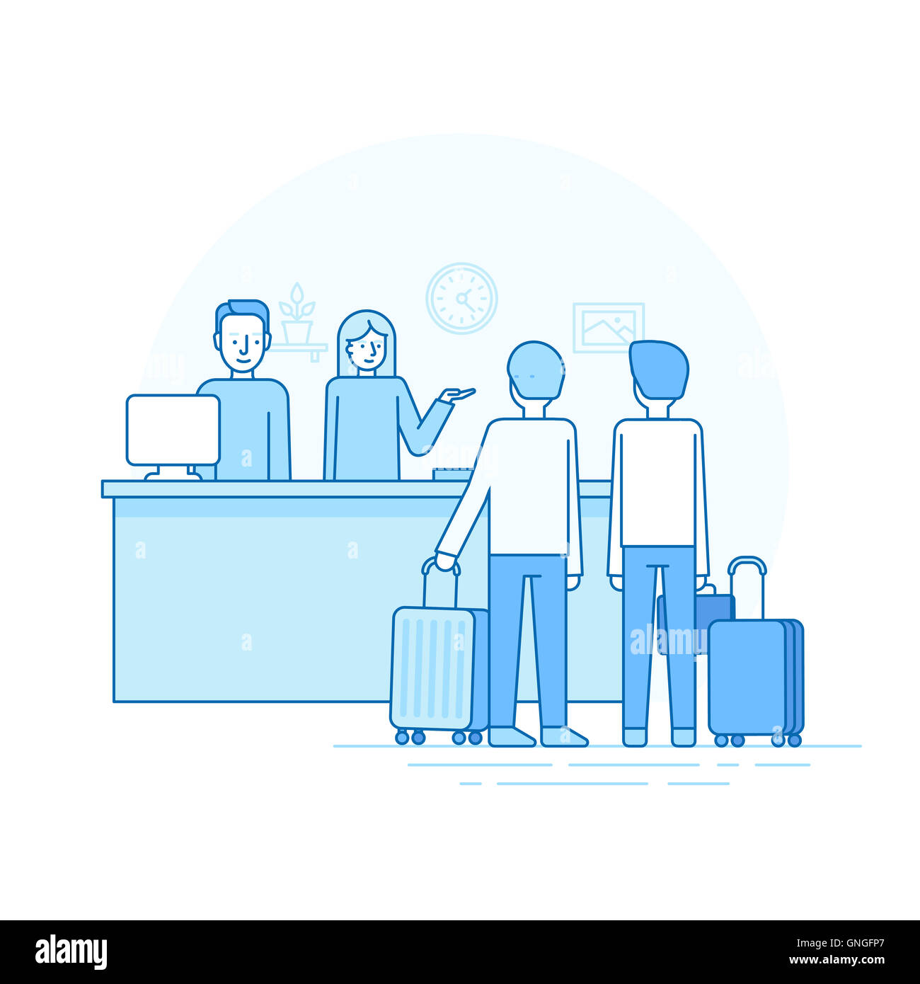 Illustration in trendy flat linear style - hotel reception and desk - man and woman welcoming two travellers - check - Stock Image