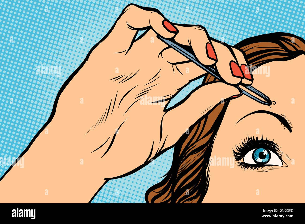 woman plucking eyebrows depilating with tweezers - Stock Image