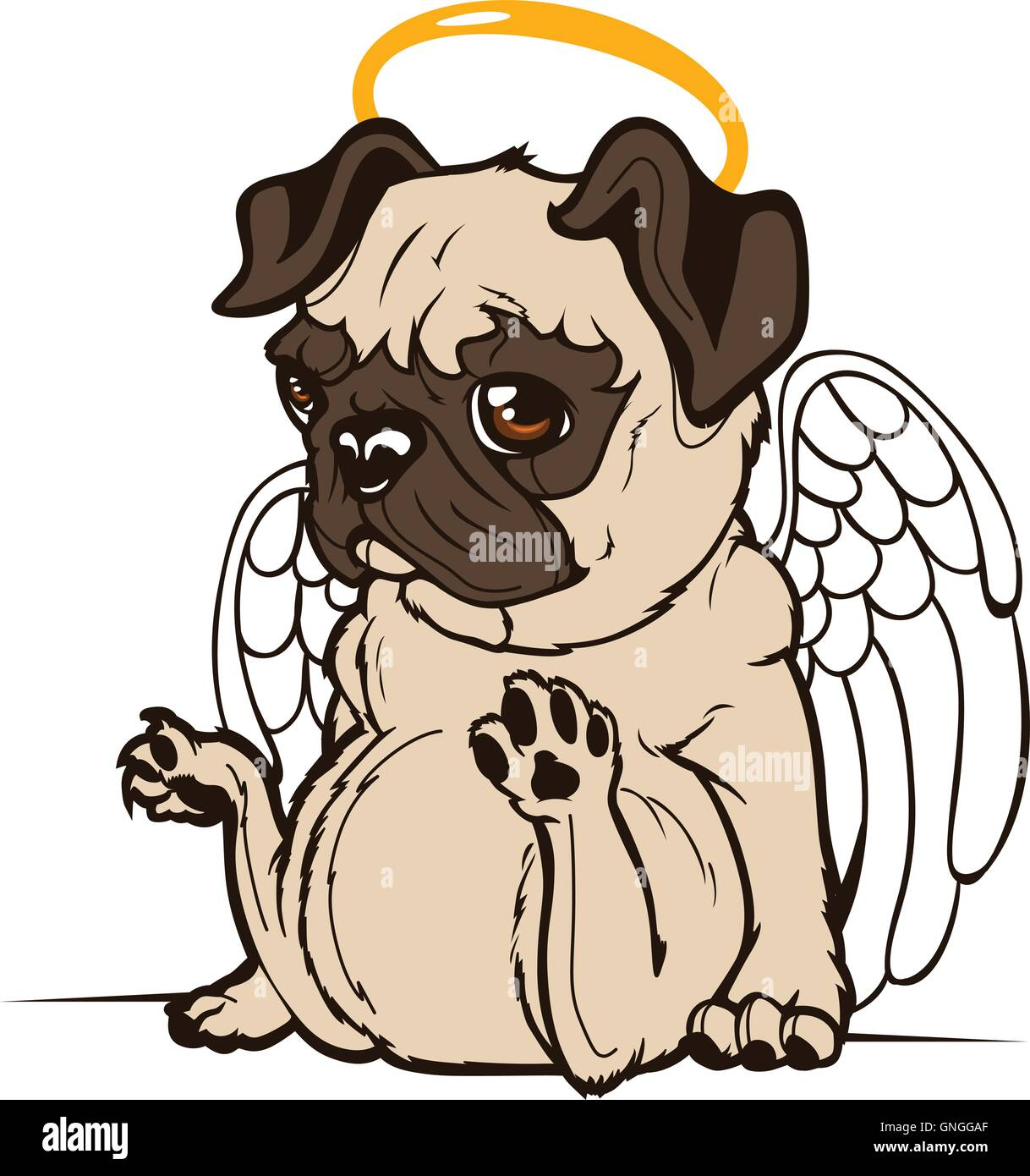 Pug Puppy Angel - Stock Image