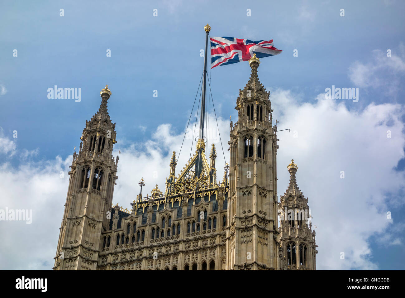 Union Flag flying over Victoria Tower, Houses of Parliament. London, UK - Stock Image